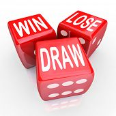 Win, Lose and Draw words on three red dice rolling in a game or competition to illustrate uncertaint