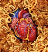 stock photo of organ  - Heart disease food medical health care concept with a human heart organ surrounded by groups of greasy cholesterol rich fried foods as a symbol of arteries clogging due to fat in the diet - JPG