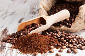 stock photo of coffee grounds  - Traditional coffee background - JPG
