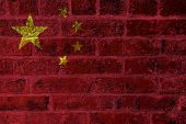 Peoples Republic Of China Flag On Brick Wall