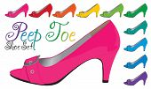 foto of peep toe  - Bright peep toe shoe set in vector format - JPG