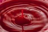 Abstract Of Water Drops And Droplets, Red Liquid , Copy Space, High Speed