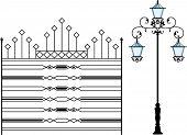 Wrought Iron Gate, Door, Fence, Window, Grill, Railing design lamp post