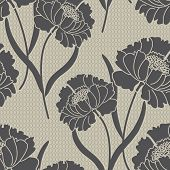 stock photo of quilt  - Classic Peony Floral Seamless Vector Pattern - JPG