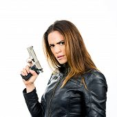 Young Beautiful Woman Holding A Gun On White Background