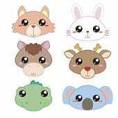 image of deer head  - six cute cartoon animal head icons with white background - JPG