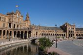 SEVILLE, SPAIN - MAY 14: Tourist visiting the Plaza de Espana on May 14, 2013 in Seville, Spain. The