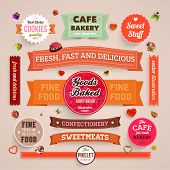image of ribbon  - Set of retro bakery labels - JPG