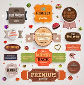 Set of vector retro ribbons, old dirty paper textures and vintage labels, banners, hearts and emblem