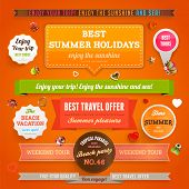 Retro elements and labels for Summer designs | Paper banners | All for Summer holidays | tropical pa