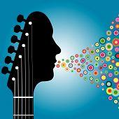 Homem de cabeçote de guitarra