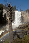 The spectacular Vernal Falls, with double rainbow, viewed from the Mist Trail, Yosemite National Park, california, USA