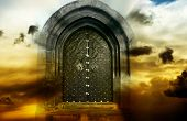 mystical magic gate in cloudy sky with copy space