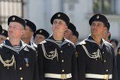 SEVASTOPOL, UKRAINE - MAY 9: Military parade in honor of Victory Day in Sevastopol, Crimea, Ukraine on May 9, 2013