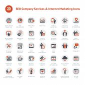 Set of SEO and Marketing icons poster