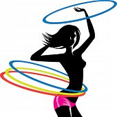 silhouette of girl with hula hoop