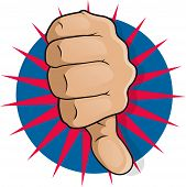 stock photo of disapproval  - Vintage Pop Art Thumbs Down - JPG