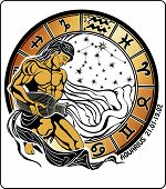 Aquarius And The Zodiac Sign. Horoscope Circle