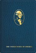 pic of passport cover  - abstract symbolic passport of the usa with portrait of George Washington from one dollar banknote - JPG