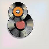 stock photo of lp  - vector realistic single and LP vinyl records with blank labels - JPG
