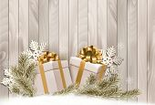 Christmas holiday background with gift ribbon with gift boxes Raster version.