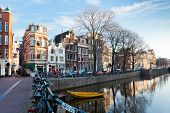 Amsterdam Canal Street View At Winter