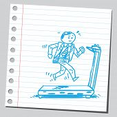 Businessman jogging on treadmill