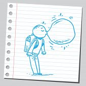 picture of bubble sheet  - Schoolkid with bubble gum - JPG