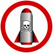 pic of chemical weapon  - No chemical weapon sign on white  - JPG