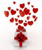 Hearts flying out of gift box. 3d render illustration on white background