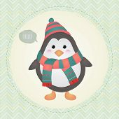 Vector Cute Penguin greeting card design illustration