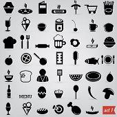 black food icons set