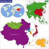 Color map of Eastern Asia divided by the countries
