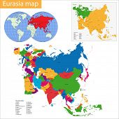 Vector map of Eurasia drawn with high detail and accuracy.