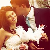 young wedding couple, beautiful bride with groom with pigeons, toned and noise added