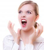 Angry Business Woman Screaming With Mouth Wide Open. Trouble In Work.
