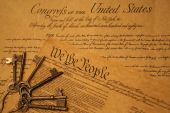 stock photo of bill-of-rights  - Keys on Declaration of Independence and Bill of Rights depicting freedom life liberty and happiness in America - JPG