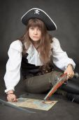 Woman - Pirate With Sea Map And Pistol