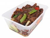 Beef And Black Bean Take Out With Clipping Path