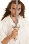 Man Long Hair Sword In Front Of Face