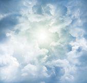 Bright sun in cloudy sky