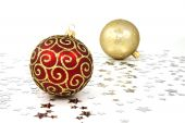 Red And Golden Christmas Baubles