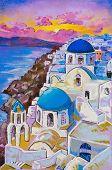 Original Pastel Paintings On Cardboard. Beautiful View Of Santorini At Sunset.