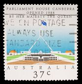 AUSTRALIA - CIRCA 1988: stamp printed by Australia, shows Opening of Parliament House, Canberra, circa 1988