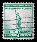USA - CIRCA 1940: Postage stamp printed in the USA, National Defense Issue, shows one of the symbols of America, Statue of Liberty, circa 1940