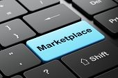 Advertising concept: Marketplace on computer keyboard background