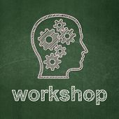 Education concept: Head With Gears and Workshop on chalkboard background