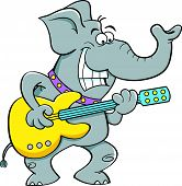 Cartoon elephant playing a guitar.