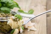 Spaghetti On Fork With Pesto