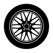 vector car aluminum wheel black white symbol